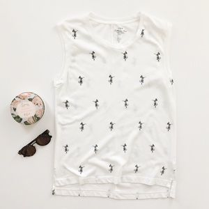 J.Crew Factory White Hula Girl Collectors Tee